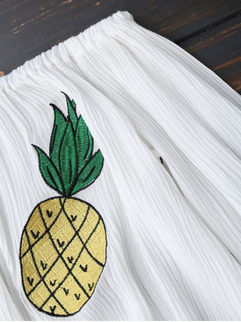 shop Off Shoulder Pineapple Embroidered Top - WHITE S Mobile