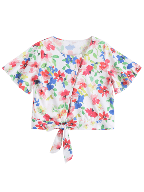 trendy Bowknot Button Up Floral Top - FLORAL M Mobile