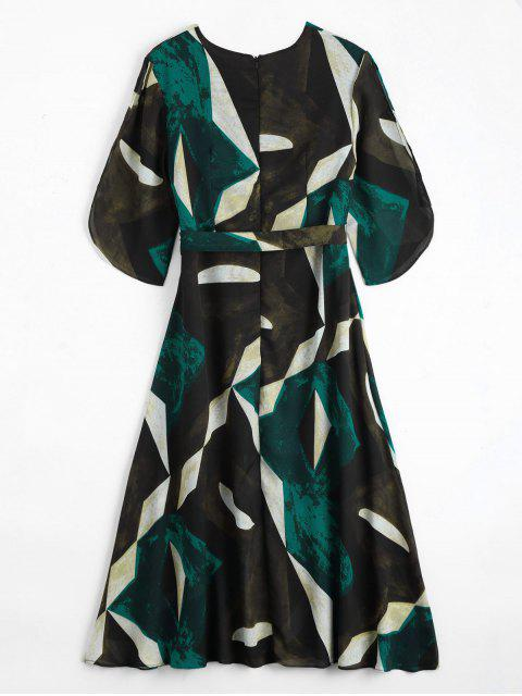 online Crossover Geo Print Midi Dress With Belt - MULTICOLOR S Mobile