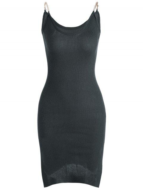 buy Side Slit Ribbed Cami Knitted Dress - DEEP GRAY ONE SIZE Mobile
