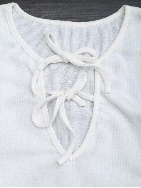 Ensemble à deux pièces top découpé et shorts - Blanc L Mobile