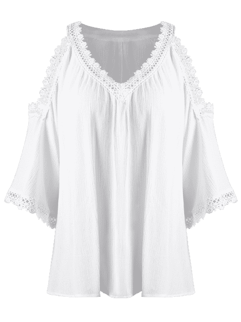 women's Laced V Neck Cold Shoulder Top - WHITE 2XL Mobile