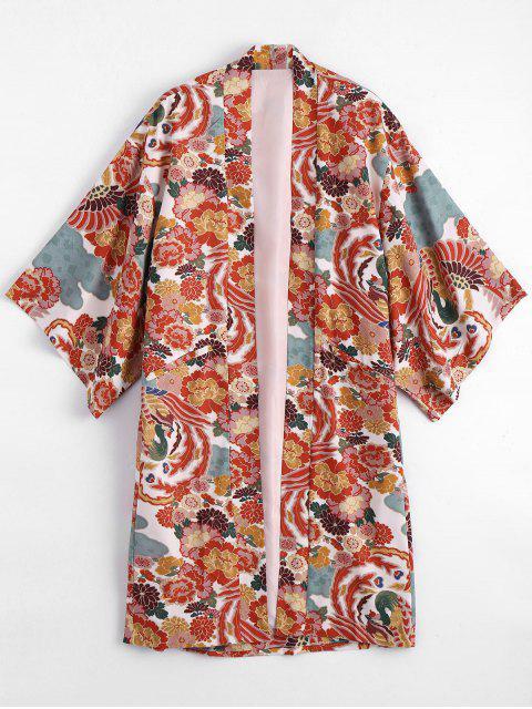new Open Front Floral Kimono Blouse - FLORAL L Mobile
