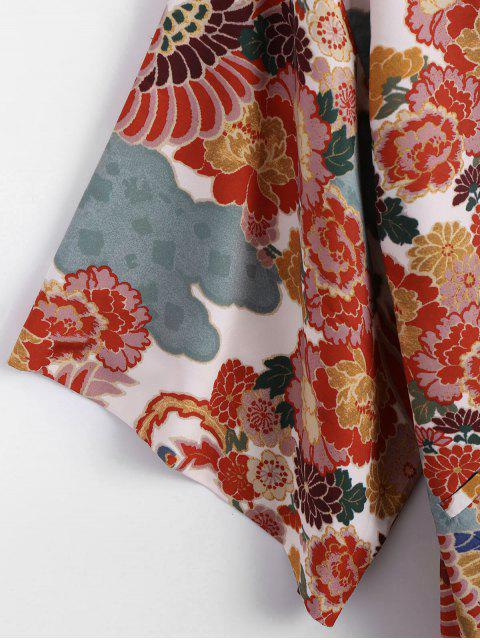 outfit Open Front Floral Kimono Blouse - FLORAL S Mobile