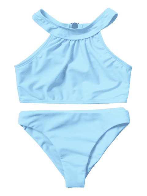buy Kids Girls Choker High Neck Bikini Set - LIGHT BLUE 6T Mobile
