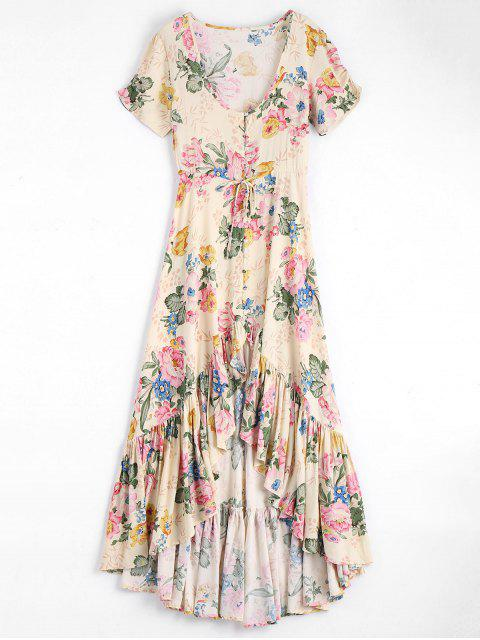 trendy High Low Scoop Neck Floral Ruffled Maxi Dress - FLORAL M Mobile