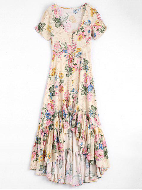 Robe Maxi Florale Haut-Bas à Col Bas à Volants - Floral S Mobile