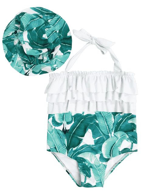 fancy Tiered Leaf Print Kid Swimwear with Swimming Cap - GREEN 5T Mobile