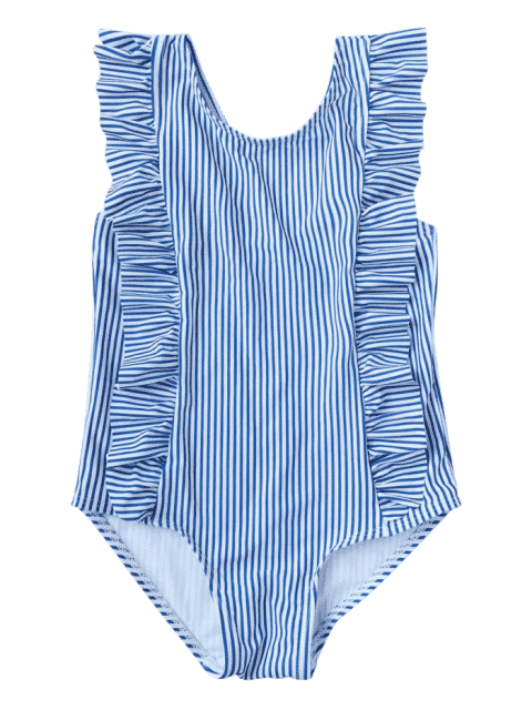 affordable Ruffled Striped Kid Swimwear - STRIPE 5T Mobile