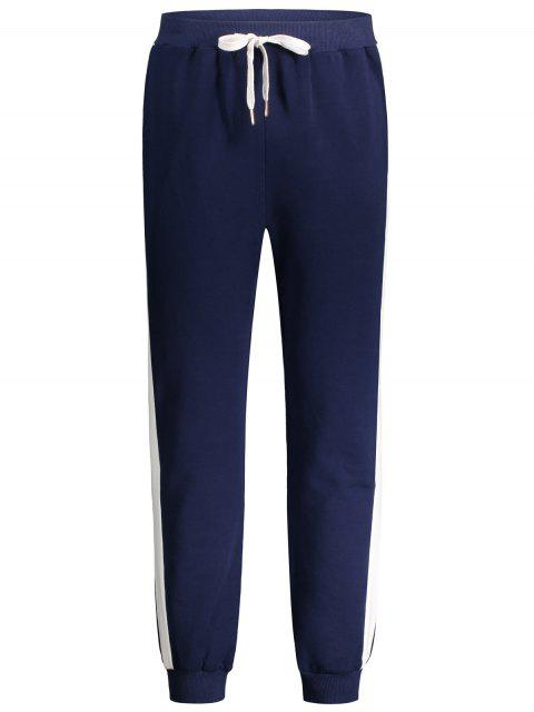 buy Drawstring Waist Two Tone Jogger Pants - PURPLISH BLUE M Mobile