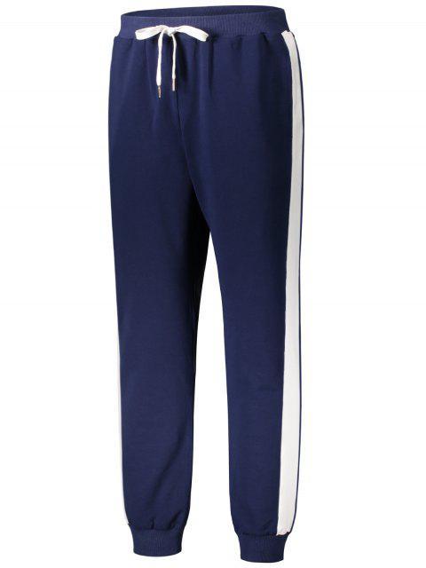 womens Drawstring Waist Two Tone Jogger Pants - PURPLISH BLUE L Mobile
