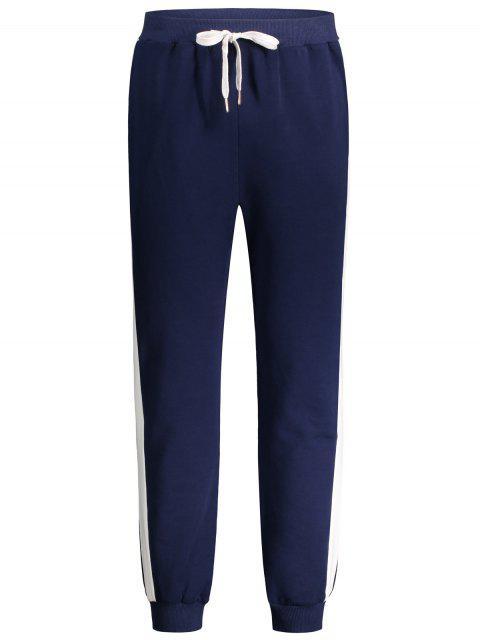 Pantalones de tirantes de dos tonos con cintura de cordón - Azul Purpúreo XL Mobile