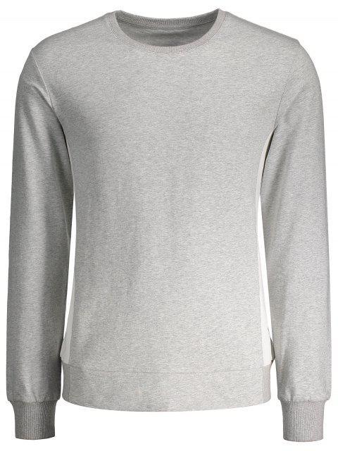 ladies Side Panel Two Tone Cotton Sweatshirt - GRAY L Mobile