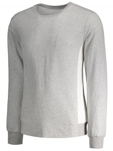 lady Side Panel Two Tone Cotton Sweatshirt - GRAY XL Mobile