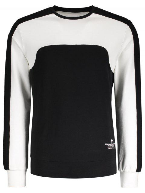 online Two Tone Panel Cotton Sweatshirt - BLACK L Mobile