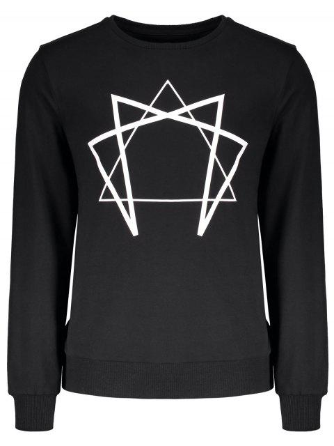 outfit Crew Neck Geometric Printed Sweatshirt - BLACK L Mobile