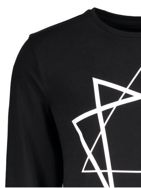 outfits Crew Neck Geometric Printed Sweatshirt - BLACK XL Mobile