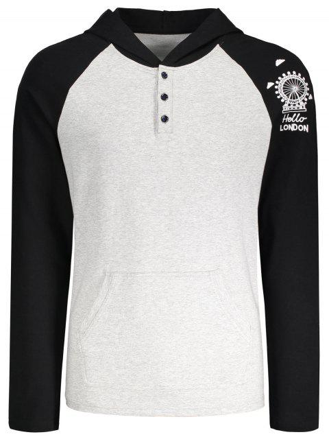 shop Raglan Sleeve Buttoned Printed Kangaroo Hoodie - LIGHT GRAY M Mobile