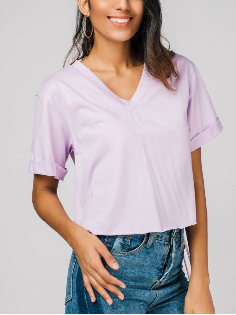 trendy V Neck Fringed Tee - LIGHT PURPLE S Mobile