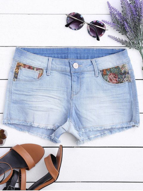 Zerrissene Cutoffs Denim Shorts mit Grafik - Helles Blau 40 Mobile