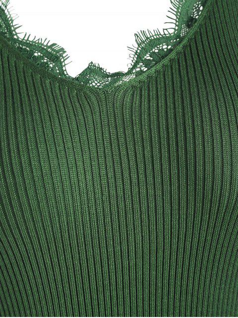 Robe Tissée Panel en Dentelle Avec Fente Latérale - Vert Armée TAILLE MOYENNE Mobile