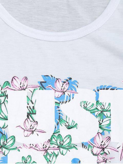 fashion Round Collar Floral Letter Print Tee - WHITE L Mobile
