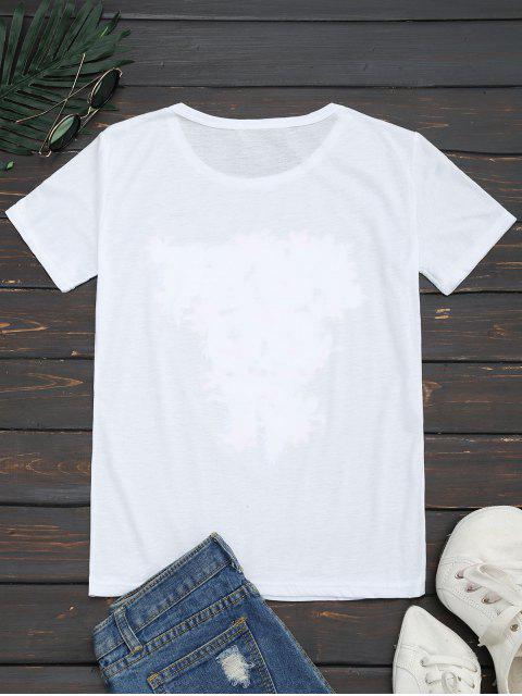 T-shirt Imprimé à Lettre Florale Col Rond - Blanc XL Mobile