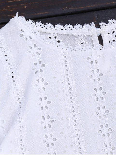 women Round Collar Flare Sleeve Openwork Blouse - WHITE 2XL Mobile