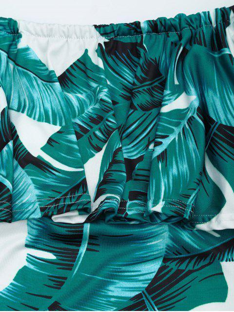 Feeds Print Flounce Fitted Dress - Vert Foncé L Mobile