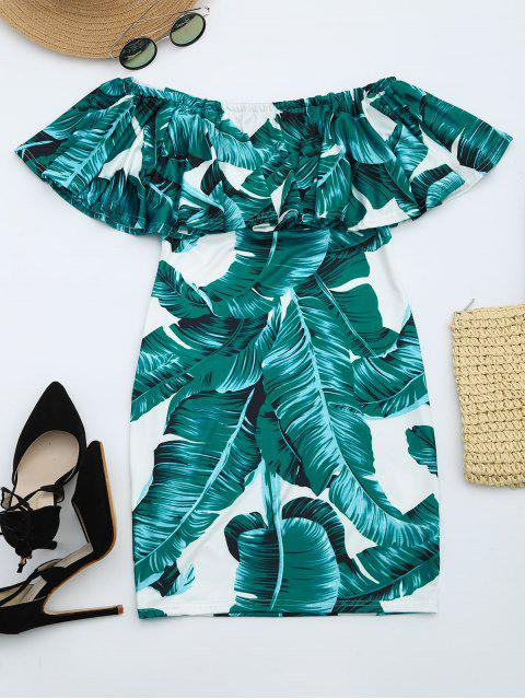 fashion Leaves Print Flounce Fitted Dress - DEEP GREEN XL Mobile