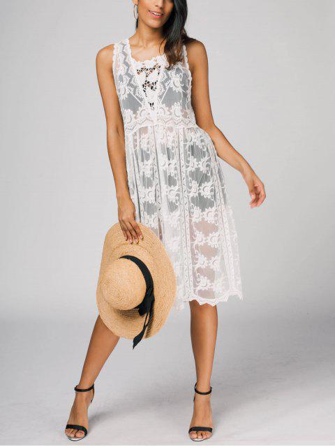 Ärmelloses Maschen Kleid - Weiß Eine Größe Mobile