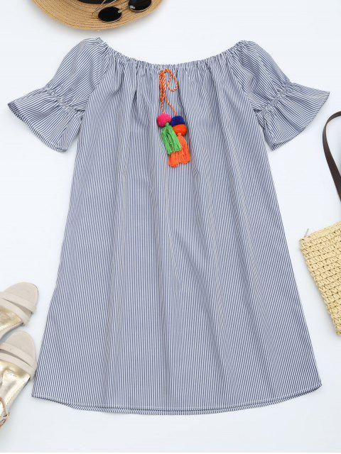 buy Flare Sleeve Striped Dress with Tassels - STRIPE L Mobile