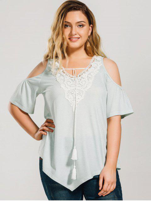 lady Striped Cold Shoulde Plus Size Peasant Blouse - LIGHT GREEN 5XL Mobile