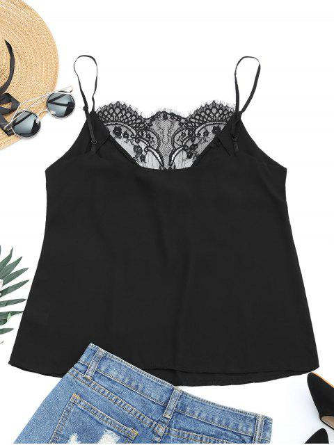 shops Lace Panel Floral Patched Cami Top - BLACK S Mobile
