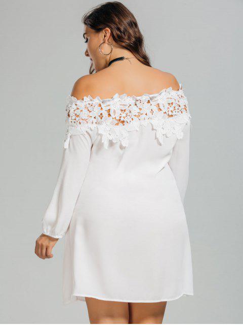 Lace Trim Off Shoulder Plus Size Robe - Blanc XL Mobile