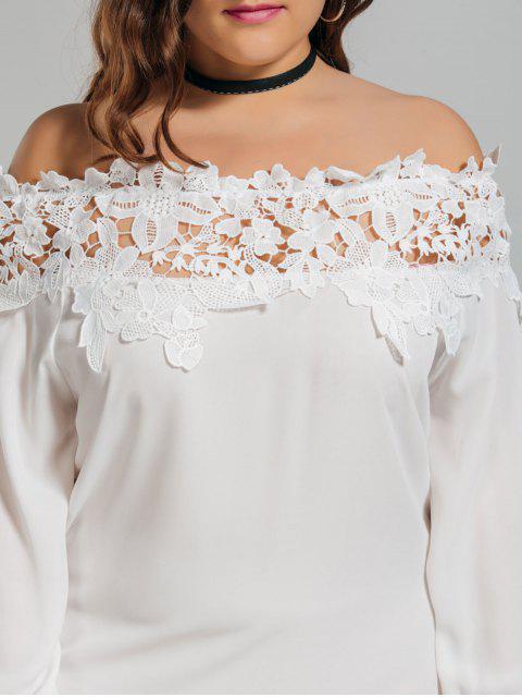 Lace Trim Off Shoulder Plus Size Robe - Blanc 2XL Mobile