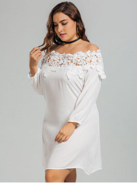Lace Trim Off Shoulder Plus Size Robe - Blanc 3XL Mobile