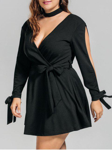 Más tamaño vestido de Surplice de manga dividida cinturón - Negro 3XL Mobile