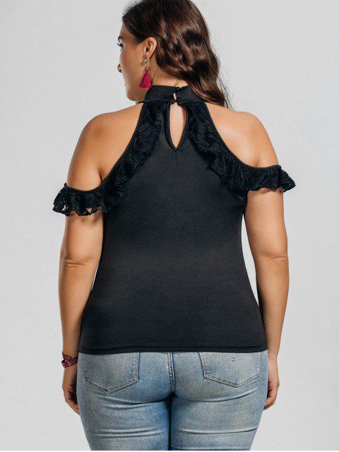 affordable Lace Panel Cold Shoulder Plus Size Top - BLACK 3XL Mobile