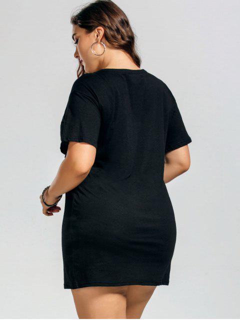 Plus Size Letter Eagle Tee Dress - Noir 2XL Mobile