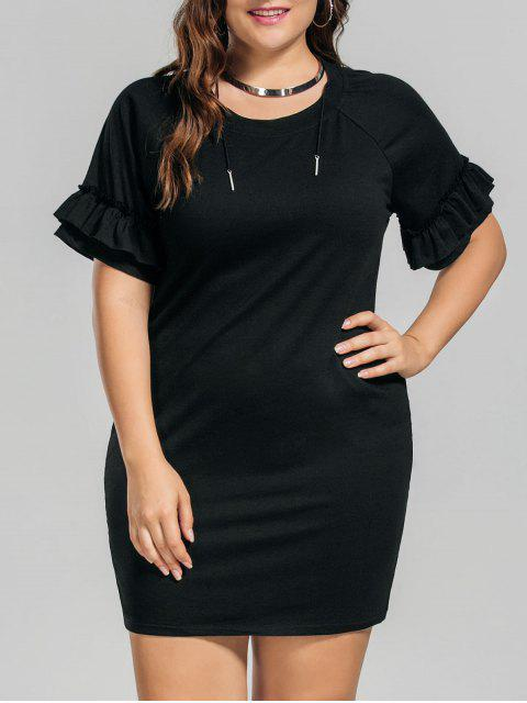 women's Plus Size Ruffles Mini Dress - BLACK 5XL Mobile