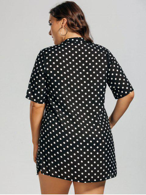 Polka Dot Plus Size Choker Dress - Blanc et Noir XL Mobile