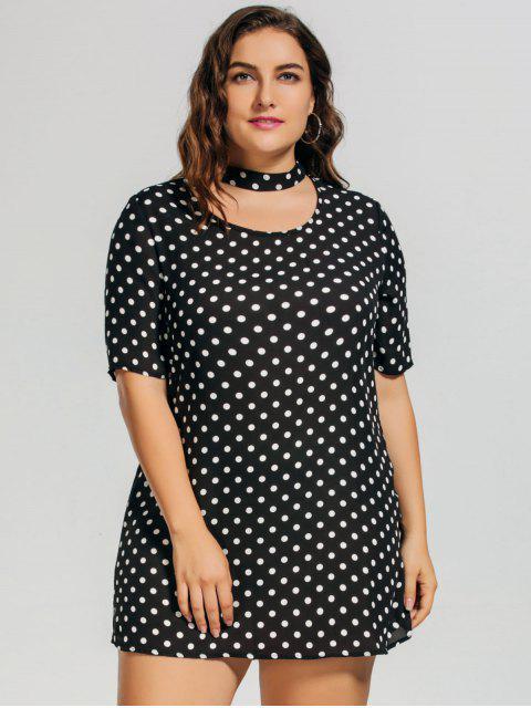 Polka Dot Plus Size Choker Dress - Blanc et Noir 2XL Mobile