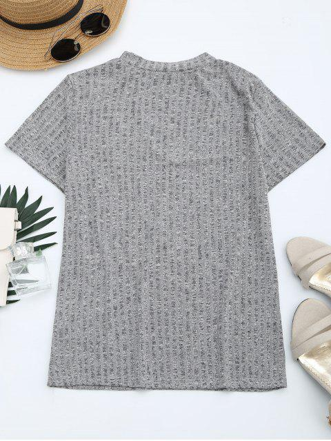 outfit Floral Patched Cut Out Heathered Tee - HEATHER GRAY L Mobile