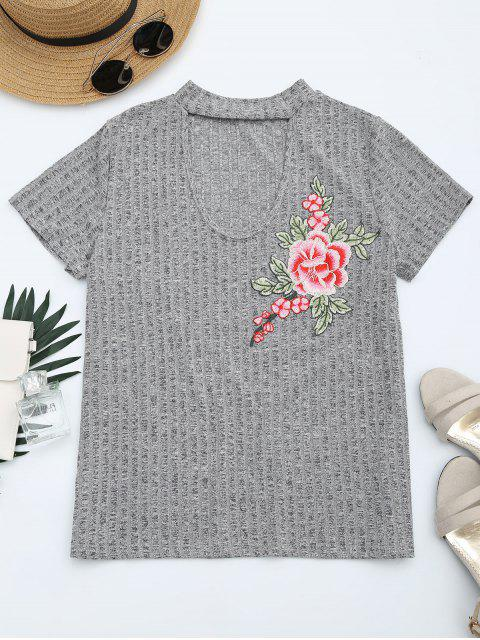 shop Floral Patched Cut Out Heathered Tee - HEATHER GRAY XL Mobile
