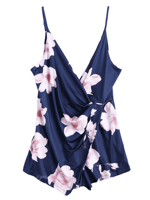 outfits Plunging Neck Floral Cami Draped Romper - PURPLISH BLUE L Mobile