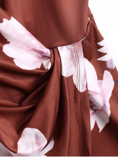 Combishorts superposé à bretelle col plongeant imprimé fleur - Brun-rouge L Mobile