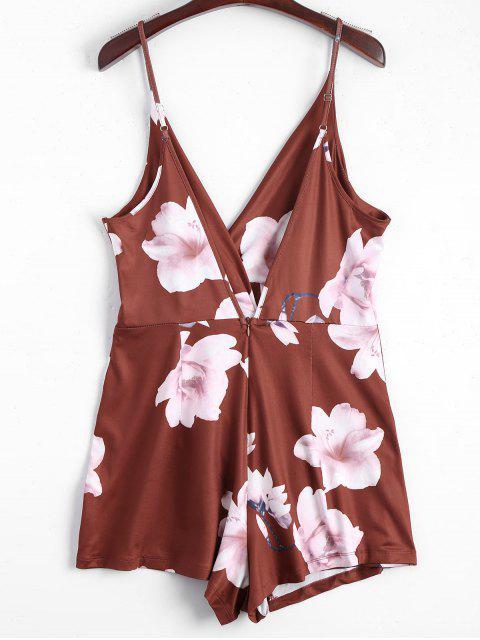 Combishorts superposé à bretelle col plongeant imprimé fleur - Brun-rouge M Mobile