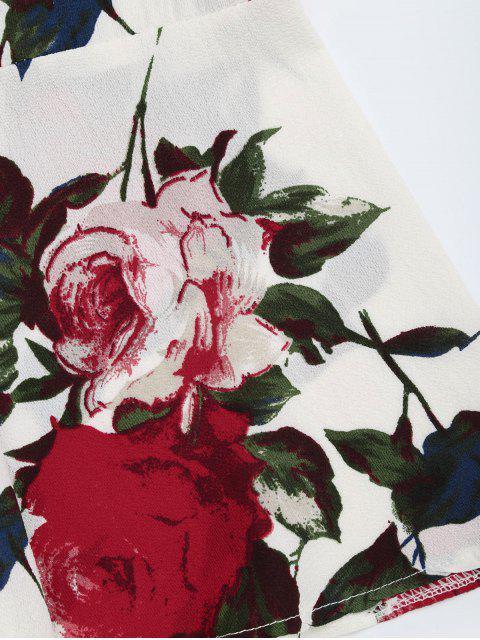 Combishorts ceinturée imprimée fleur avec manche évasée - Floral S Mobile