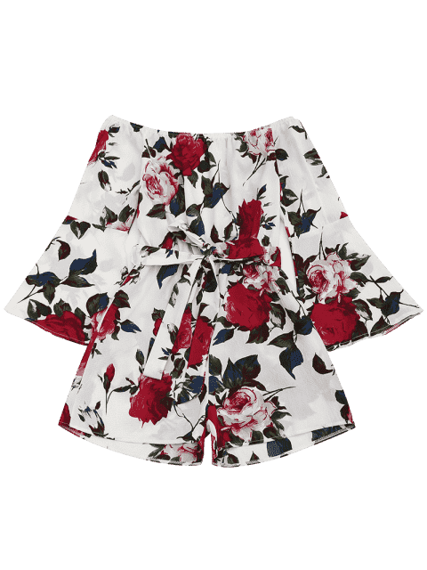 outfit Floral Print Flare Sleeve Belted Romper - FLORAL M Mobile